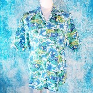 VTG Fenwick Fish & Hawaiian Floral Button Up Shirt